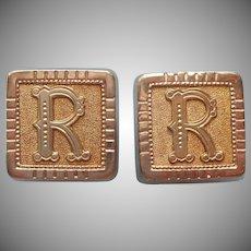 Monogram R Cuff Buttons Antique Cufflinks Victorian