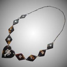 Pique Inlay Vintage Necklace Faux Tortoiseshell Aluminum Islands Souvenir