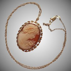 Gold Filled Cameo Shell Necklace Pin Vintage