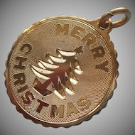 Christmas Charm Gold Filled Vintage Merry Christmas