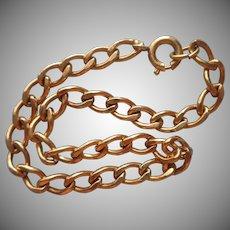 Gold Filled Charm Bracelet Vintage Simple Single Link