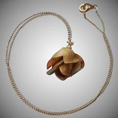 Gold Filled Rose Pendant Vintage Necklace On Chain