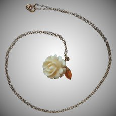 Gold Filled Carved Rose On Chain Necklace Dainty Classic
