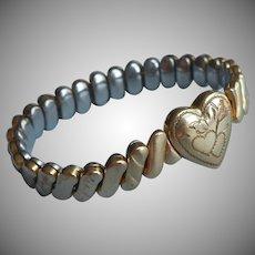 Baby Child's Petite Adult Gold Filled Vintage Expansion Bracelet Heart