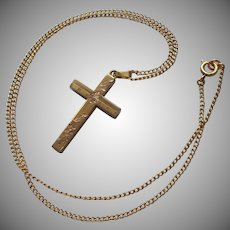 1940s Gold Filled Cross On Chain Necklace Pretty Hand Engraving White Co.