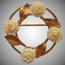 Vintage 1950s to 1960s Circle Pin Classic Carved Roses Leaves