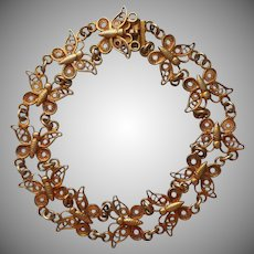 Filigree Butterflies Vintage Bracelet 800 Silver Vermeil Gold