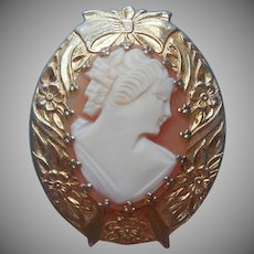 Shell Cameo Pin Vintage Gold Plated Bow Flowers