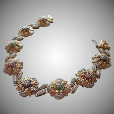 Gold Vermeil 925 Flower Bracelet Tiny Ruby Emerald Sapphire Diamond Sterling