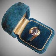 Gold Filled Ring Light Purple Lavender Stone Vintage TLC
