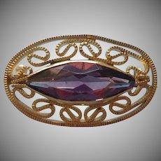 Edwardian Lace Pin Purple Glass Stone Filigree Antique Faux Amethyst