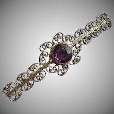 Vintage Filigree Bar Pin Purple Glass Faux Amethyst Stone