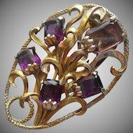 Dress Clip Vintage Large Purple Glass Stones Faux Amethyst