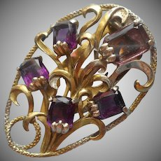 Dress Clip Vintage Large Purple Glass Stones Faux Amethyst