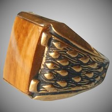 Tiger Eye Men's Ring Vintage Gold Plated