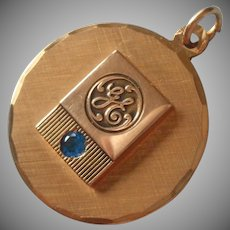 G.E. Charm General Electric Vintage Gold Filled Blue Stone Service Award