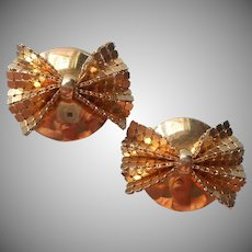 80s Mesh Bow Earrings Vintage Large Clip Style