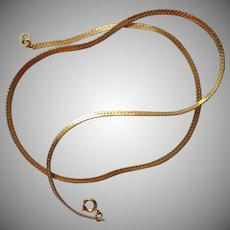 Herringbone Chain Necklace Vintage Sweet 1980s 14K Plated Overlay
