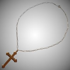 Antique Cross On Chain Necklace Gold Filled Handsome
