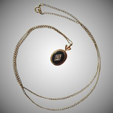 Petite Onyx Gold Filled Pendant Necklace Vintage Tiny Diamond