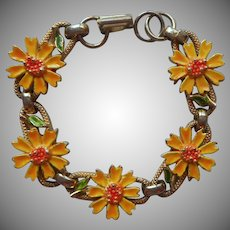 Child's Or Petite Adult Bracelet Vintage Painted Yellow Daisies Coreopsis