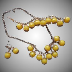Vintage 50s Set Fun Yellow Dangle Balls Necklace Bracelet Plastic Metal