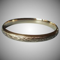 Gold Filled Hinged Bangle Bracelet Vintage Marathon