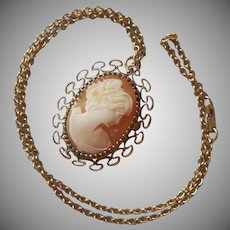 Shell Cameo Pin Necklace Vermeil Sterling Gold Filled Chain Vintage