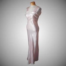 Satin Nightgown ca 1940 Vintage S Pink Lace 32 TLC