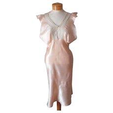 1930s Nightgown Peach Satin Vintage Shorter Length Bias