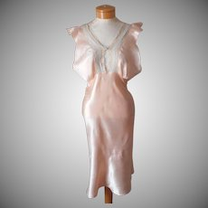 1930s Nightgown Peach Satin Vintage Shorter Length Bias
