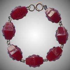 Art Deco 1930s Bracelet Vintage Faux Carnelian Glass Stones