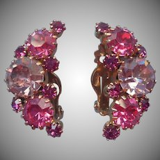 Weiss Earrings Pink Lavender Rhinestones Vintage Clip Signed
