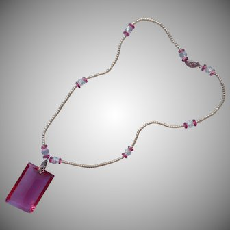 1920s Necklace Pink Glass Faux Pearls 14K White Gold Clasp TLC