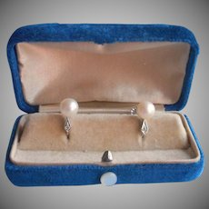 14K White Gold 7 mm Cultured Pearl Diamond Earrings Vintage Screw Back