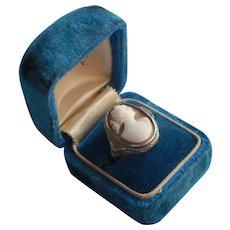 1920s 14K Art Deco White Gold Shell Cameo Ring Vintage