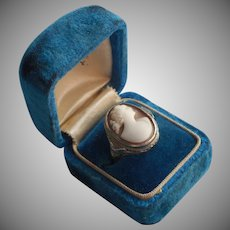 1920s 14K Art Deco White Gold Shell Cameo Ring Vintage