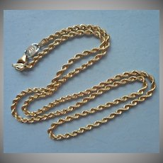 Vintage Rope Twist Chain Necklace 925 Heavily Gold Plated
