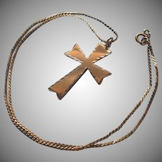 Gold Filled Cross On Chain Necklace Vintage Broad Flared