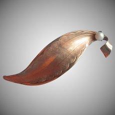 Cultured Pearl Gold Filled Pin Vintage Leaf Form
