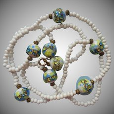 Lampwork Glass Beads Necklace Vintage White Blue Lime Green
