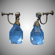Czech Earrings 1920s to 1930s Blue Crystal Drop Vintage Screw Back
