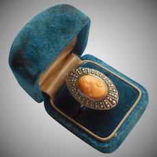 1920s Celluloid Cameo Ring Faux Coral Marcasite Vintage Uncas