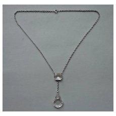Vintage Necklace Crystal Drop Filigree Silver Tone