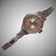 1920s Ladies Watch Art Deco Faux Sapphire GF Band Elaine