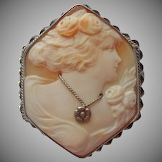 1920s Cameo Sterling Silver Carved Shell Hexagon Vintage Habille