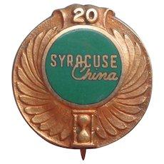 Syracuse China Gold Filled Service Pin Vintage 20 Years Award