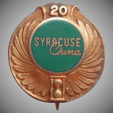 Syracuse China Gold Filled Service Pin Vintage 20 Years Award