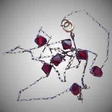 Gold Filled Red Crystal Beads Vintage Necklace Fine Choker