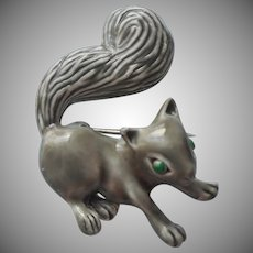 Gerrys Squirrel Pin Vintage 1960s Gray Green Rhinestone Eyes